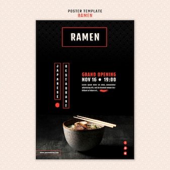Modelo de pôster para restaurante de ramen japonês