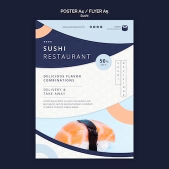 Modelo de pôster para restaurante de sushi