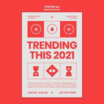 Modelo de pôster para revisão e tendências de ano novo