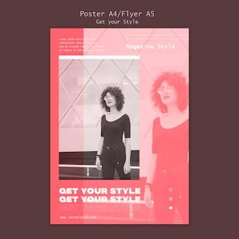 Modelo de pôster para revista de estilo eletrônico