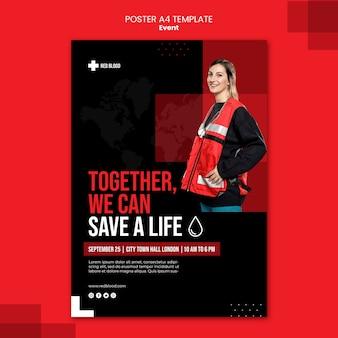 Modelo de pôster para salvar uma vida