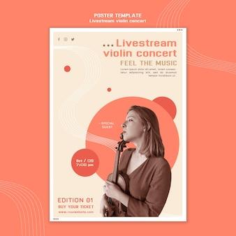 Modelo de pôster para show de violino com transmissão ao vivo