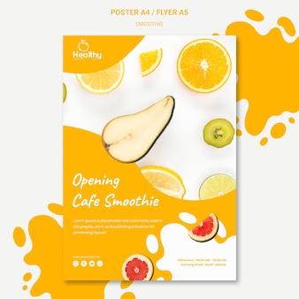 Modelo de pôster para smoothies de frutas saudáveis