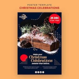 Modelo de pôster para sobremesas tradicionais de natal