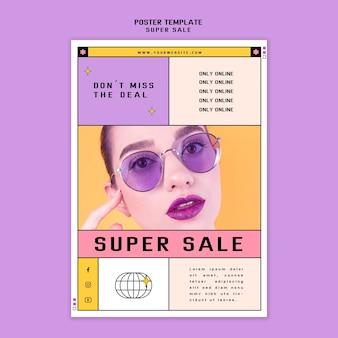 Modelo de pôster para super venda de óculos de sol