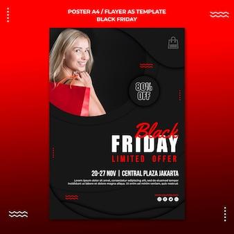 Modelo de pôster para venda na sexta-feira negra