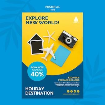 Modelo de pôster para viagens de férias
