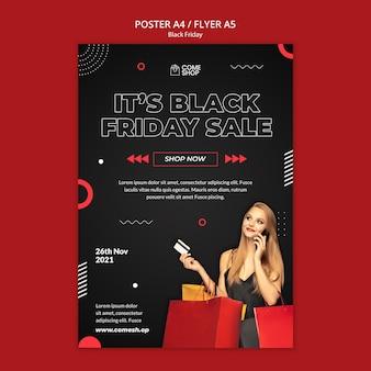 Modelo de pôster preto escuro de sexta-feira
