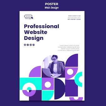 Modelo de pôster profissional de web design