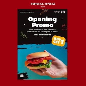 Modelo de pôster promocional de hambúrguer delicioso