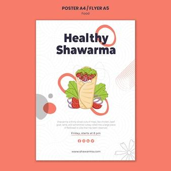 Modelo de pôster shawarma saudável