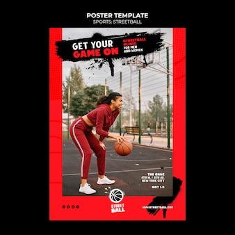 Modelo de pôster streetball