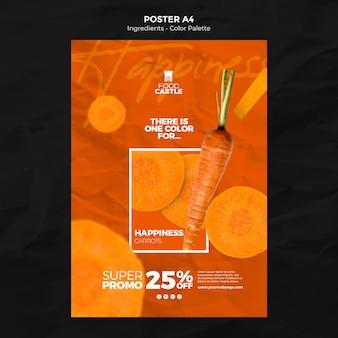 Modelo de pôster vertical com cenoura