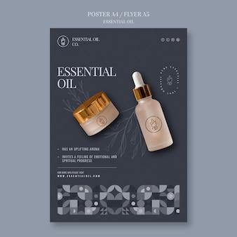 Modelo de pôster vertical com cosméticos de óleo essencial