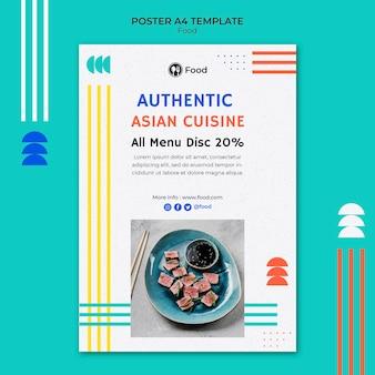 Modelo de pôster vertical com pratos da culinária asiática