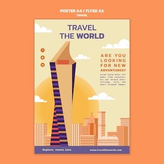 Modelo de pôster vertical de viagens pelo mundo