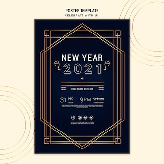 Modelo de pôster vertical elegante para festa de ano novo