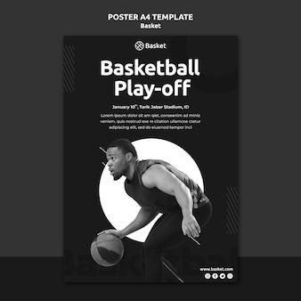Modelo de pôster vertical em preto e branco com atleta masculino de basquete