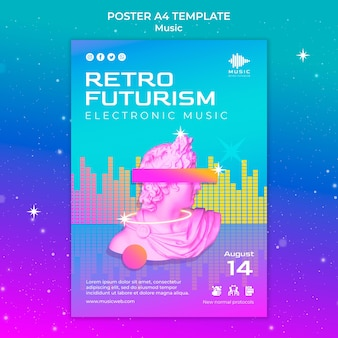 Modelo de pôster vertical futurista retrô para festival de música