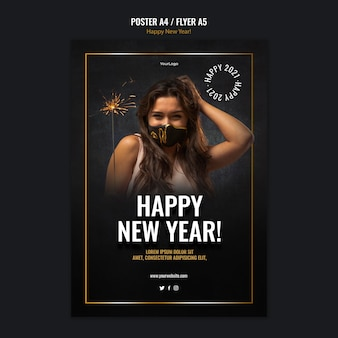 Modelo de pôster vertical para a celebração do ano novo