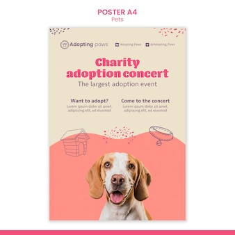 Modelo de pôster vertical para adoção de animal de estimação com cachorro