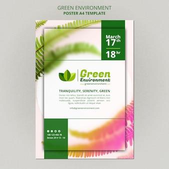 Modelo de pôster vertical para ambiente verde
