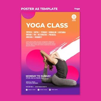 Modelo de pôster vertical para aula de ioga com mulher