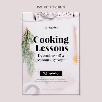 Modelo de pôster vertical para aulas de culinária