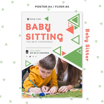 Modelo de pôster vertical para babá com criança