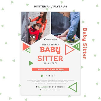 Modelo de pôster vertical para babá com crianças