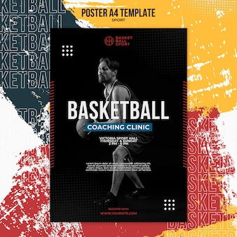 Modelo de pôster vertical para basquete com jogador masculino