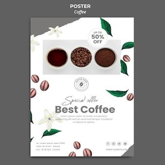 Modelo de pôster vertical para café