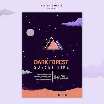 Modelo de pôster vertical para caminhadas na floresta escura