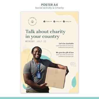 Modelo de pôster vertical para caridade e doação