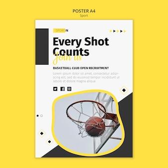Modelo de pôster vertical para clube de basquete
