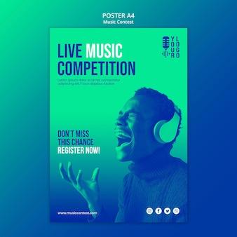 Modelo de pôster vertical para concurso de música ao vivo com artista
