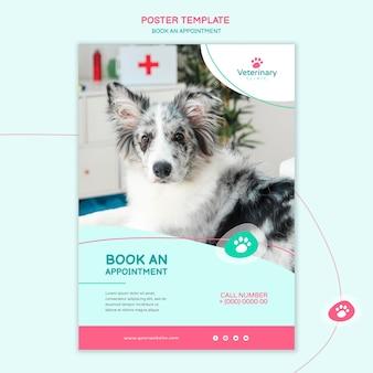 Modelo de pôster vertical para consulta com veterinário