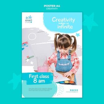 Modelo de pôster vertical para crianças criativas se divertindo