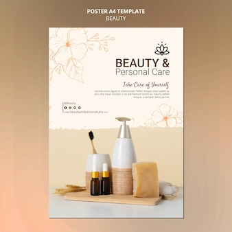 Modelo de pôster vertical para cuidados pessoais e beleza