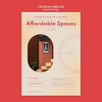 Modelo de pôster vertical para design de interiores