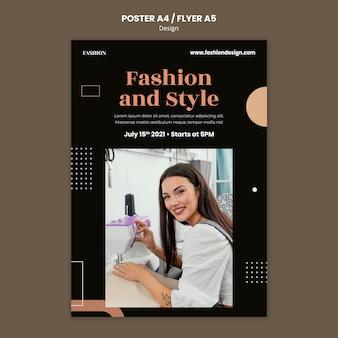 Modelo de pôster vertical para designer de moda