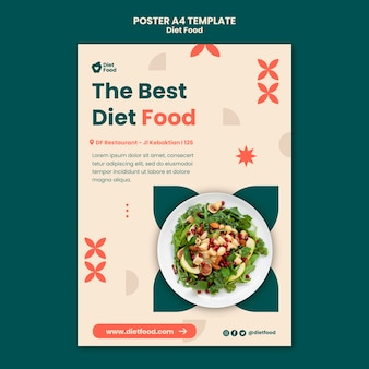 Modelo de pôster vertical para dieta alimentar