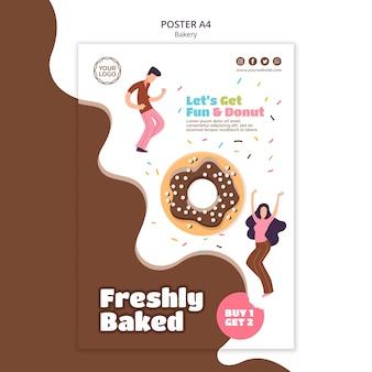 Modelo de pôster vertical para donuts assados