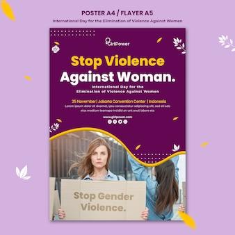 Modelo de pôster vertical para eliminação da violência contra as mulheres