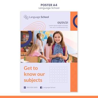 Modelo de pôster vertical para escola de idiomas