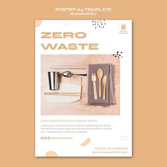 Modelo de pôster vertical para estilo de vida sem desperdício
