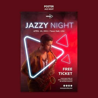 Modelo de pôster vertical para evento noturno de jazz neon