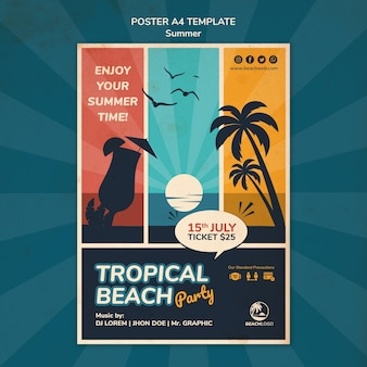 Modelo de pôster vertical para festa de praia tropical