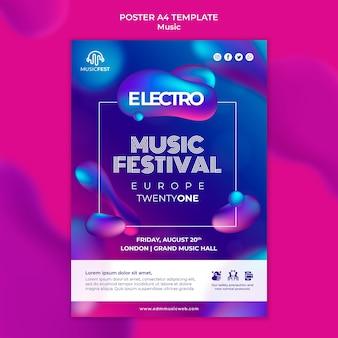 Modelo de pôster vertical para festival de música eletro com formas de efeito líquido neon