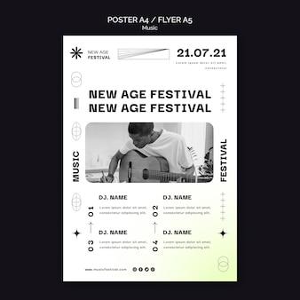 Modelo de pôster vertical para festival de música new age